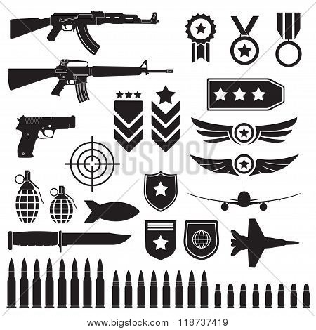 Weapons and military set. Machine guns, pistol and bullets black icons. Vector.