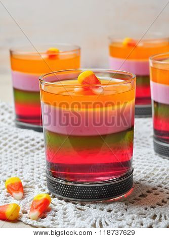 Delicious multi-layered fruit jelly