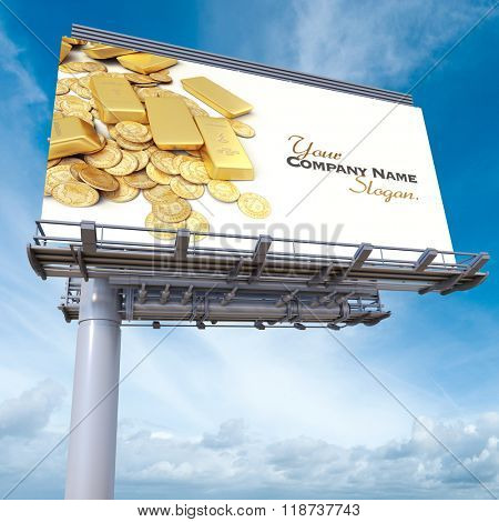 3D rendering of an advertising billboard with gold ingots and coins