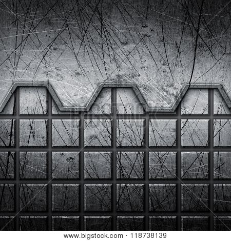 Grunge and scrached industrial metal background or texture
