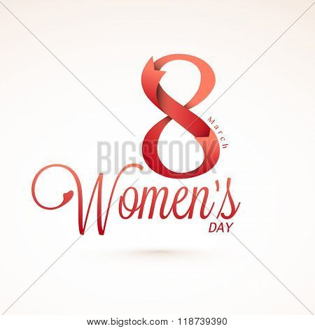 Elegant greeting card design with creative text 8 March made by glossy ribbon for Happy Women's Day celebration.
