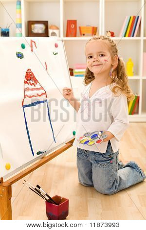 Little Artist Girl Painting Her Dream House