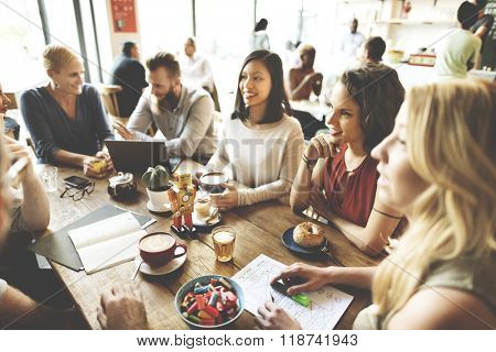 Diversity Friends Meeting Coffee Shop Brainstorming Concept
