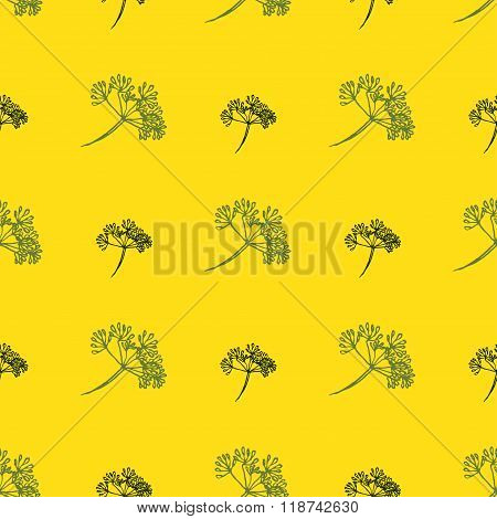Seamless pattern with drawing dill or fennel