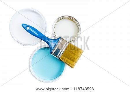 Brush And Paint In Banks On A White Background