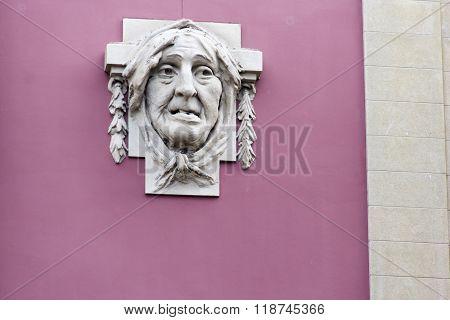 countenance, visage, phiz, mug, frontispiece, feature, muz, face, appearence, wall, sculpture, carvi