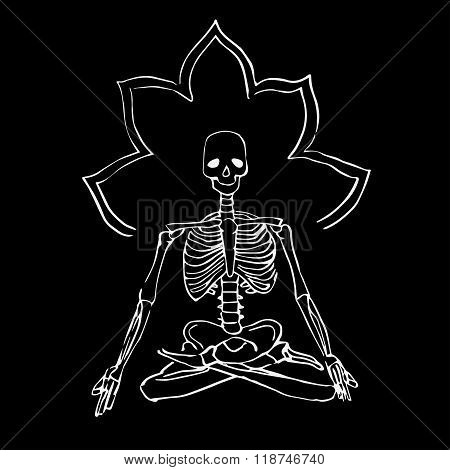 White skeleton sitting in a lotus position.