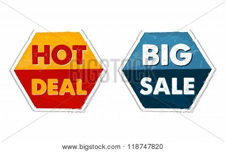 Hot Deal And Big Sale In Grunge Flat Design Hexagons Labels