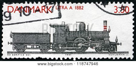 DENMARK - CIRCA 1991: a stamp printed in Denmark shows Locomotive Class A 1882 circa 1991