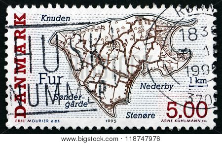 DENMARK - CIRCA 1995: a stamp printed in Denmark shows Fur Danish Island circa 1995