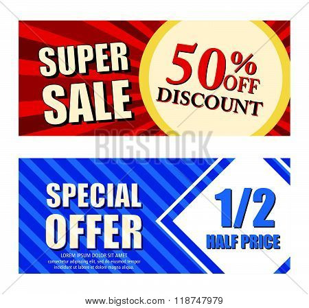 50 percent off discount super sale and special offer half price, two vouchers, vector