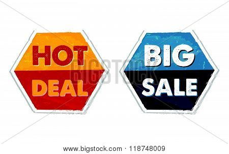 hot deal and big sale in grunge flat design hexagons labels, vector