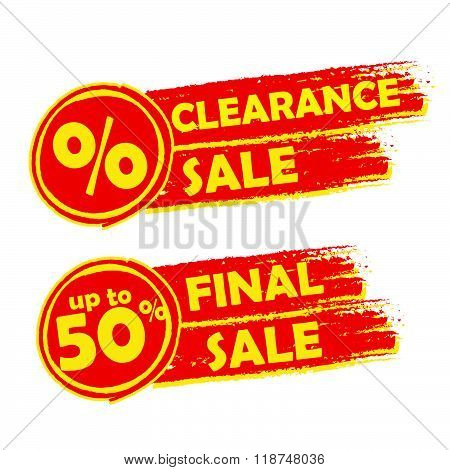 clearance and final sale with percent and 50 percentage signs, drawn labels, vector