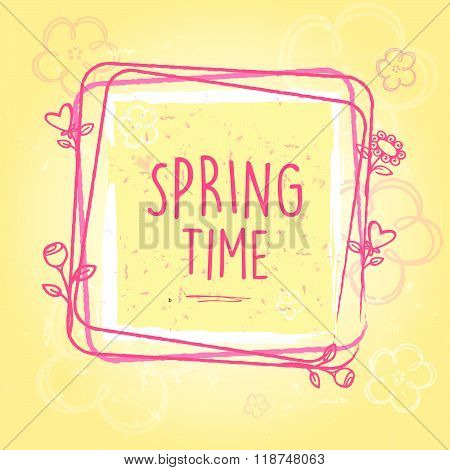 spring time in frame with flowers and hearts, old paper background, vector