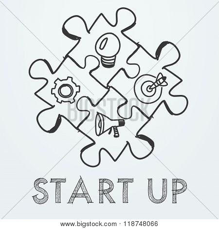 start up and business concept signs in puzzle pieces, vector