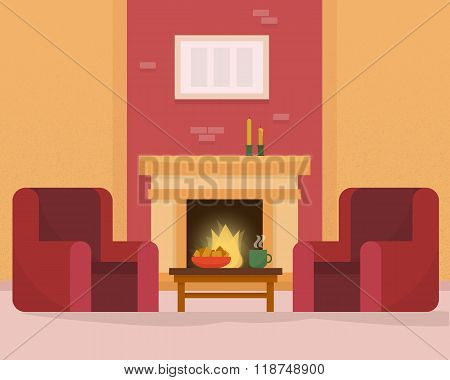 Cozy room interior with fireplace.