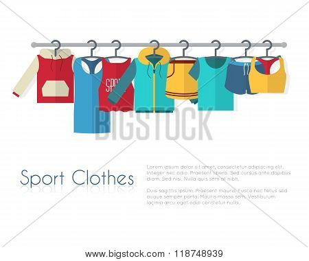 Racks with sport clothes on hangers