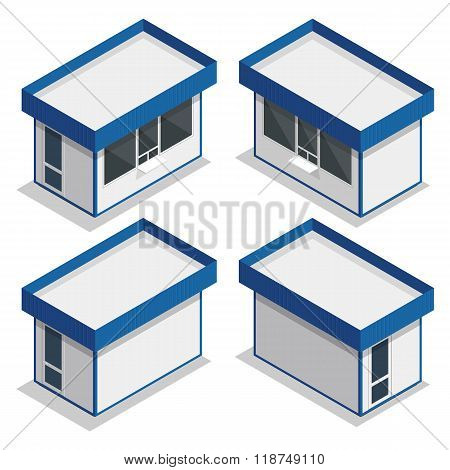 Mini market exterior. Vector flat 3d isometric illustration.