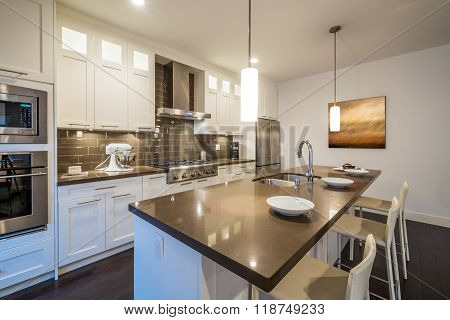 Modern bright clean kitchen interior with stainless steel appliances in a luxury house.