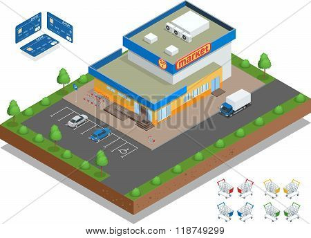 Supermarket exterior. The supermarket with parking and shopping carts. Retail trade. Credit Cards.