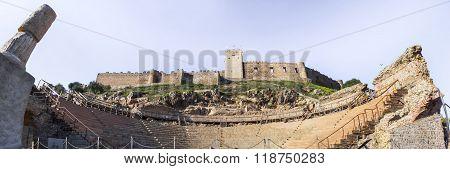 Roman Theatre And Medellin Castle, Spain. Panoramic