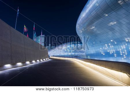 Dongdaemun Design Plaza is a modern architecture in Seoul designed by Zaha Hadid.