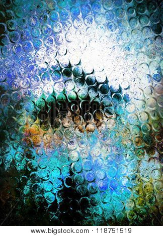 Woman eye in cosmos  pace and glass effect, Abstract background.