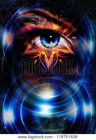 Goddess Woman eye and oriental ornamental mandala in cosmic space.
