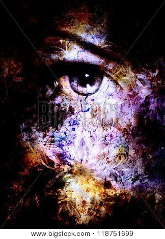 Woman eye and mandala, Abstract color background and desert crackle.