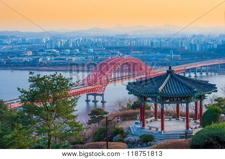Banghwa brigde and small pavilion in seoul,korea
