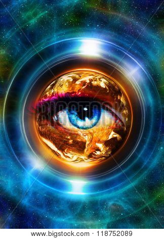 Planet Earth in light circle and woman eye, Cosmic Space background. Computer collage. Earth concept