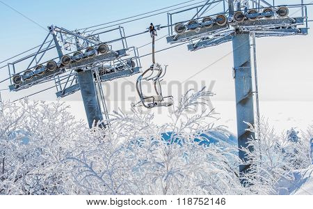 Ski Chair Lift Is Covered By Snow In Winter, Korea.