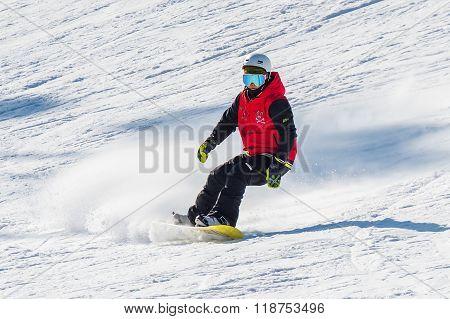 Skier skiing on Deogyusan Ski Resort in winter South Korea