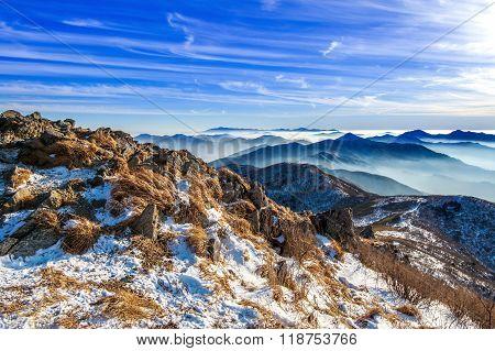 Peak Of Deogyusan Mountains In Winter,south Korea.winter Lanscape.