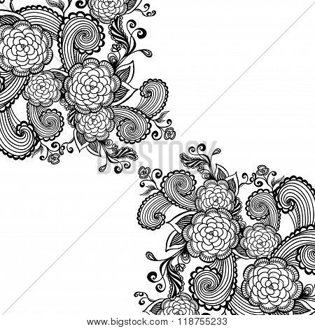 Zen-doodle background  with flowers black on white