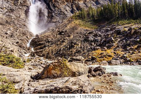The Bottom of Takakkaw Falls in Yoho National Park in the Canadian Rockies