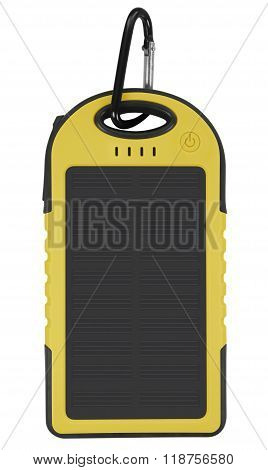 Power Bank With A Solar Panel - Yellow