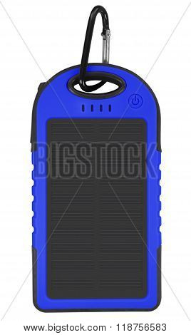Power Bank With A Solar Panel - Blue