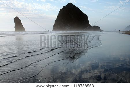Sea stacks of Cannon Beach, north Oregon coastline