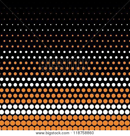 Cadmium orange and white polka dot on black background