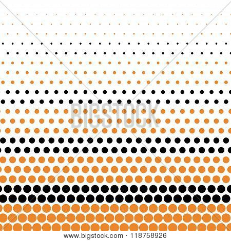 Cadmium orange and black polka dot on white background