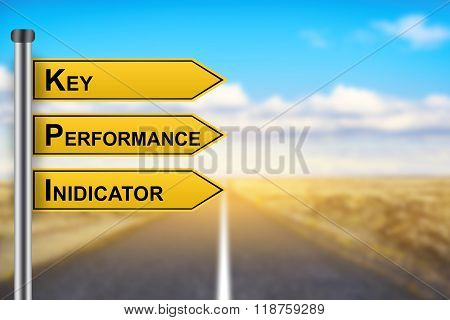 Kpi Or Key Performance Indicator Words On Yellow Road Sign