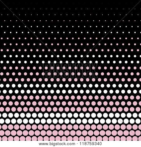 Cameo pink and white polka dot on black background