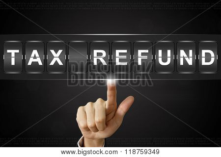 Business Hand Clicking Tax Refund On Flipboard
