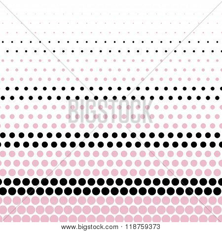Cameo pink and black polka dot on white background