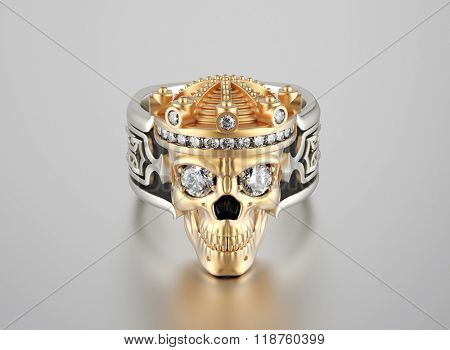 Golden skull Ring with Diamond  eyes. Jewelry background