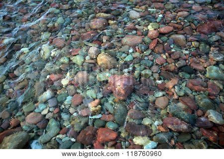 Rounded stones, Flathead River, Montana