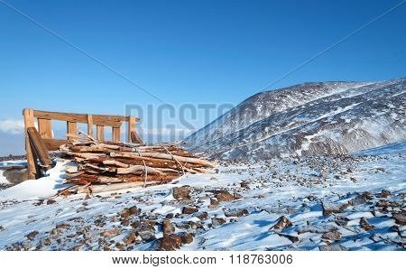 Woodpile In The Tourist Destination
