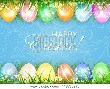 Blue Easter Background With Eggs In Grass