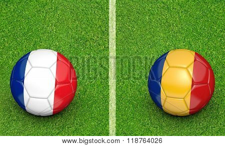 Team balls for France vs Romania Europe 2016 football tournament match in France